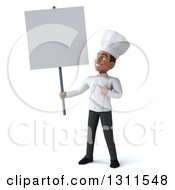 3d Young Black Male Chef Holding And Pointing To A Blank Sign