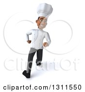 3d Young Black Male Chef Speed Walking