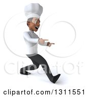 3d Young Black Male Chef Speed Walking And Pointing To The Right