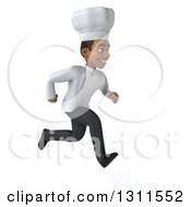 3d Young Black Male Chef Sprinting To The Right