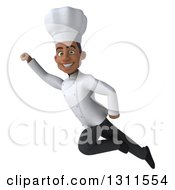 3d Young Black Male Chef Flying Up To The Left
