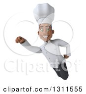 3d Young Black Male Chef Flying