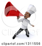 3d Young Black Male Chef Announcing With A Megaphone