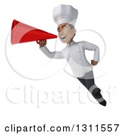 3d Young Black Male Chef Flying And Announcing With A Megaphone
