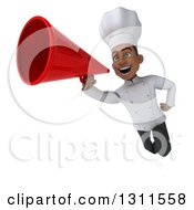 3d Young Black Male Chef Flying And Announcing With A Megaphone 2