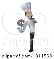 3d Full Length Young Black Male Chef Holding A Dollar Symbol Around A Sign
