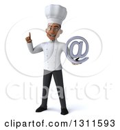 Clipart Of A 3d Young Black Male Chef Holding Up A Finger And An Email Arobase At Symbol Royalty Free Illustration
