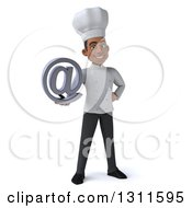 Clipart Of A 3d Young Black Male Chef Holding An Email Arobase At Symbol Royalty Free Illustration