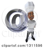 Clipart Of A 3d Young Black Male Chef Holding Up An Email Arobase At Symbol Royalty Free Illustration