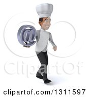 Clipart Of A 3d Young Black Male Chef Walking To The Right And Holding An Email Arobase At Symbol Royalty Free Illustration