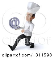 Clipart Of A 3d Young Black Male Chef Speed Walking To The Left And Holding An Email Arobase At Symbol Royalty Free Illustration