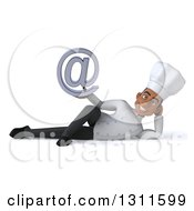 Clipart Of A 3d Young Black Male Chef Resting On His Side And Holding An Email Arobase At Symbol Royalty Free Illustration