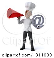 Clipart Of A 3d Young Black Male Chef Holding An Email Arobase At Symbol And Announcing With A Megaphone Royalty Free Illustration