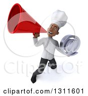 Clipart Of A 3d Young Black Male Chef Holding An Email Arobase At Symbol And Announcing Upwards With A Megaphone Royalty Free Illustration