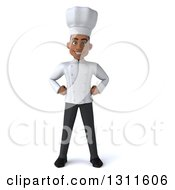 Clipart Of A 3d Young Black Male Chef With Hands On His Hips Royalty Free Illustration by Julos