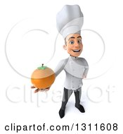 Clipart Of A 3d Young White Male Chef Holding Up A Navel Orange Royalty Free Illustration