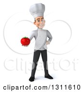 Clipart Of A 3d Young White Male Chef Holding A Tomato Royalty Free Illustration