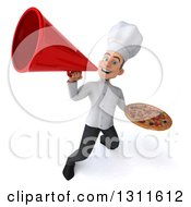 Clipart Of A 3d Young White Male Chef Holding A Pizza And Announcing With A Megaphone Royalty Free Illustration