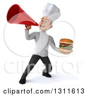 Clipart Of A 3d Young White Male Chef Holding A Double Cheeseburger And Announcing With A Megaphone Royalty Free Illustration