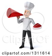 Clipart Of A 3d Young White Male Chef Holding A Beef Steak And Announcing With A Megaphone Royalty Free Illustration