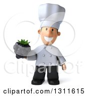 Clipart Of A 3d Short White Male Chef Holding A Blackberry Royalty Free Illustration