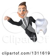 Clipart Of A 3d Happy Young White Businessman Flying And Holding A Tooth Royalty Free Illustration by Julos