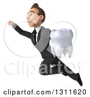 Clipart Of A 3d Happy Young White Businessman Flying And Holding A Tooth 2 Royalty Free Illustration by Julos
