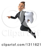 Clipart Of A 3d Happy Young White Businessman Flying Pointing And Holding A Tooth Royalty Free Illustration by Julos