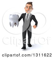 Clipart Of A 3d Happy Young White Businessman Walking And Holding A Tooth Royalty Free Illustration by Julos