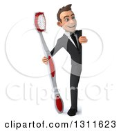Clipart Of A 3d Full Length Happy Young White Businessman Holding A Giant Toothbrush Around A Sign Royalty Free Illustration