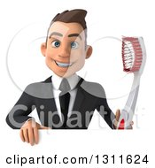 Clipart Of A 3d Happy Young White Businessman Holding A Giant Toothbrush Over A Sign Royalty Free Illustration