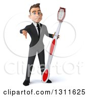 Clipart Of A 3d Happy Young White Businessman Giving A Thumb Down And Holding A Giant Toothbrush Royalty Free Illustration