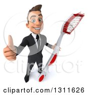 Clipart Of A 3d Happy Young White Businessman Holding Up A Thumb And A Giant Toothbrush Royalty Free Illustration