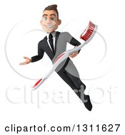 Clipart Of A 3d Happy Young White Businessman Flying Presenting And Holding A Toothbrush Royalty Free Illustration