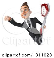 Clipart Of A 3d Happy Young White Businessman Flying With A Toothbrush Royalty Free Illustration