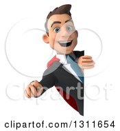 Clipart Of A 3d Happy Young White Super Businessman Pointing Outwards Around A Sign Royalty Free Illustration