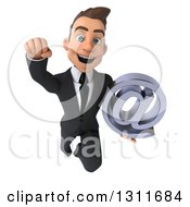 Clipart Of A 3d Happy Young White Businessman Flying And Holding An Email Arobase At Symbol Royalty Free Illustration