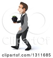 Clipart Of A 3d Happy Young White Businessman Walking To The Left And Holding A Blackberry Royalty Free Illustration