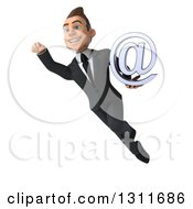 Clipart Of A 3d Happy Young White Businessman Flying And Holding An Email Arobase At Symbol 2 Royalty Free Illustration