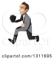 Clipart Of A 3d Happy Young White Businessman Sprinting To The Left And Holding A Blackberry Royalty Free Illustration