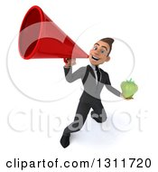 Clipart Of A 3d Happy Young White Businessman Holding A Green Bell Pepper And Announcing Upwards With A Megaphone Royalty Free Illustration