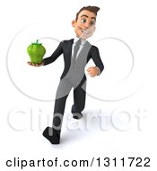 Clipart Of A 3d Happy Young White Businessman Speed Walking And Holding A Green Bell Pepper Royalty Free Illustration