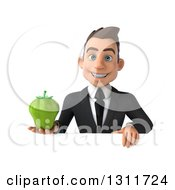 Clipart Of A 3d Happy Young White Businessman Holding A Green Bell Pepper Over A Sign Royalty Free Illustration
