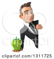 Clipart Of A 3d Happy Young White Businessman Holding A Green Bell Pepper Around A Sign Royalty Free Illustration