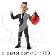 Clipart Of A 3d Happy Young White Businessman Holding Up A Finger And A Blood Drop Royalty Free Illustration