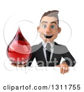 Clipart Of A 3d Happy Young White Businessman Holding A Blood Drop Over A Sign Royalty Free Illustration