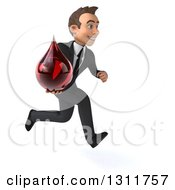 Clipart Of A 3d Happy Young White Businessman Sprinting To The Right And Holding A Blood Drop Royalty Free Illustration