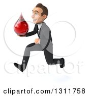 Clipart Of A 3d Happy Young White Businessman Sprinting To The Left And Holding A Blood Drop Royalty Free Illustration