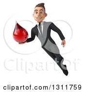 Clipart Of A 3d Happy Young White Businessman Flying And Holding A Blood Drop 3 Royalty Free Illustration