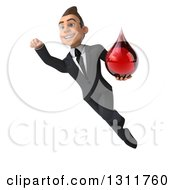 Clipart Of A 3d Happy Young White Businessman Flying And Holding A Blood Drop 2 Royalty Free Illustration